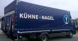LKW-Planenbeschriftung für die Firma Kühne+Nagel aus Ludwigsburg