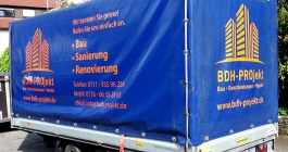 Anhängerbeschriftung für BDH-Projekt in Stuttgart