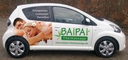 Autofolierung im Digitaldruck für Baipai Thaimassage aus Esslingen