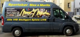 Fahrzeugwerbung im Digitaldruck für Sportsbar Max & Moritz aus Stuttgart