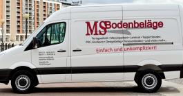Werbebeschriftung eines Transporters für MS Bodenbeläge in Stuttgart