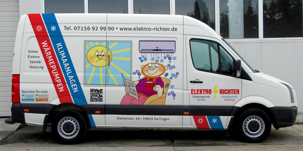 Fahrzeugbeschriftung für Elektro Richter in Gerlingen