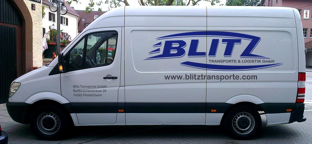 Fahrzeugbeschriftung für Blitz Transporte in Pleidelsheim