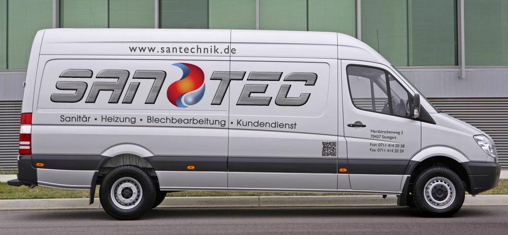 Transporter Beschriftung für die Firma SanTec in Stuttgart