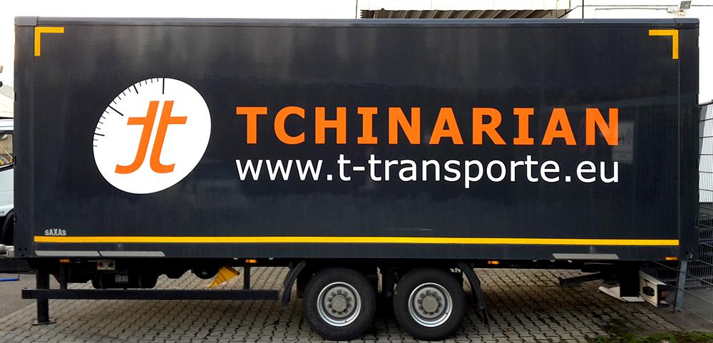 Anhängerbeschriftung für Tchinarian Transporte GmbH aus Ludwigsburg