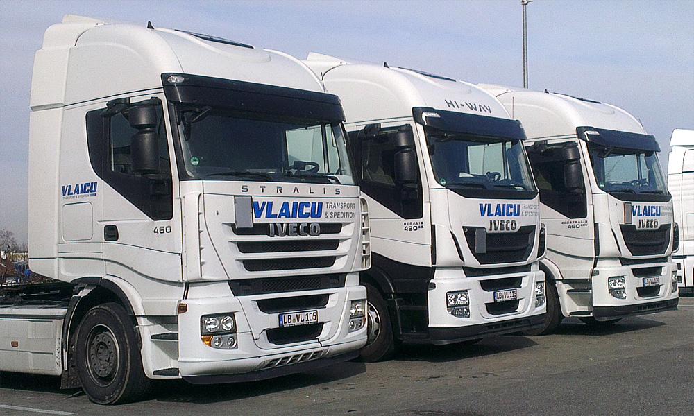 Fahrzeugbeschriftung dreier Zugmaschinen für Vlaicu in Ludwigsburg