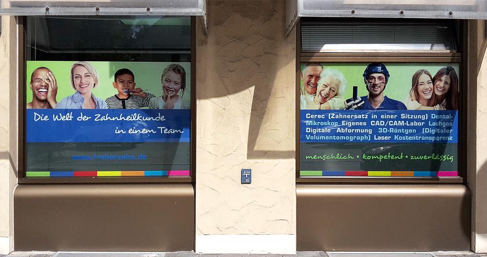 Schaufensterbeschriftung für Zahnarztpraxis in Sindelfingen