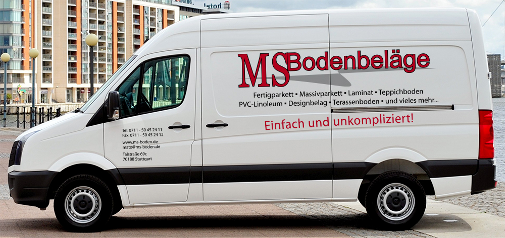 Bodenbeläge Stuttgart werbebeschriftung des transporters für ms boden in stuttgart