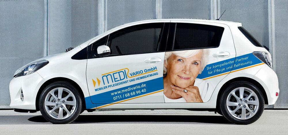 Autobeklebung im Digitaldruck für Medivario GmbH aus Stuttgart